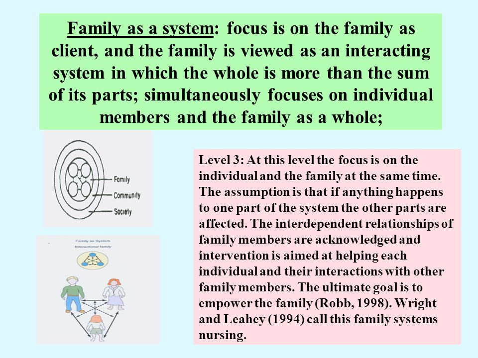 Family as a system: focus is on the family as client, and the family is viewed as an interacting system in which the whole is more than the sum of its parts; simultaneously focuses on individual members and the family as a whole;