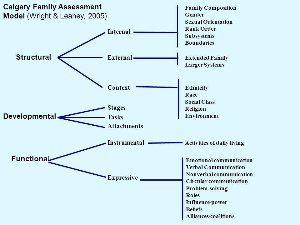 calgary family assessment model Calgary family assessment model (cfam) entwicklung funktion struktur intern extern kontext beziehungen aufgaben stadien expressiv instrumentell cfam.