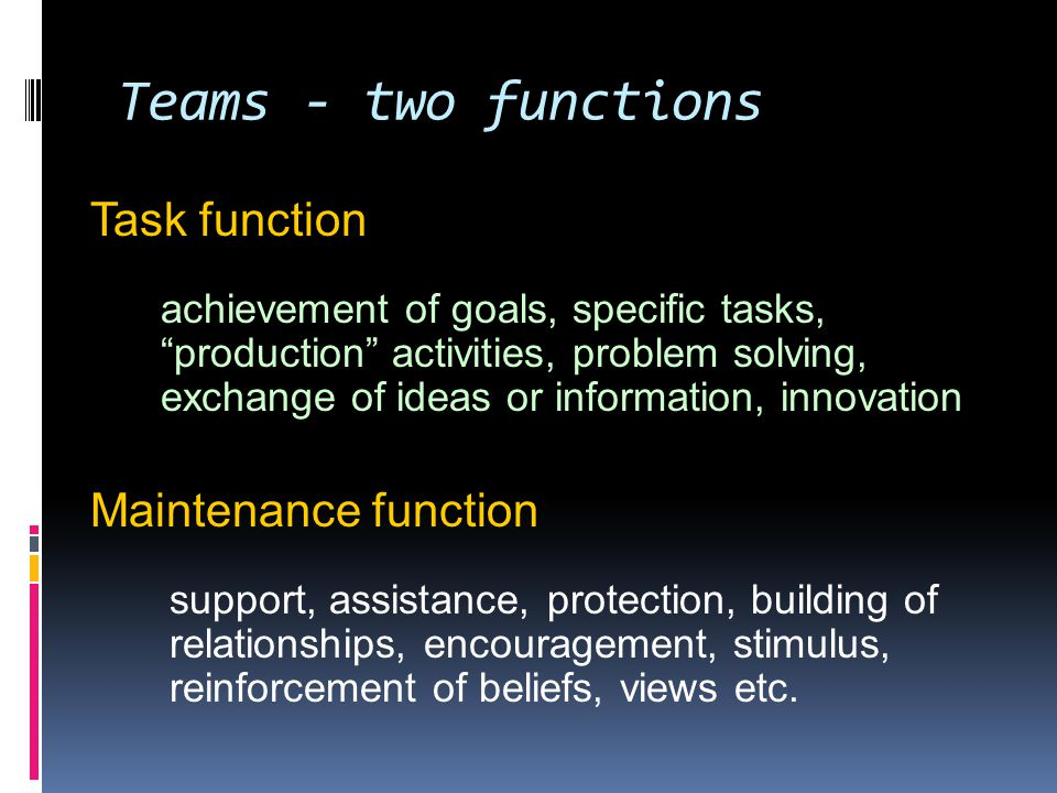 2 Dimensions of Team Effectiveness