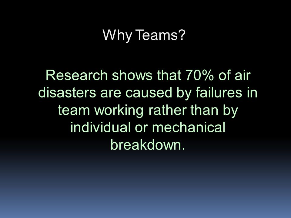 Why Teams Teams are an effective way of: -