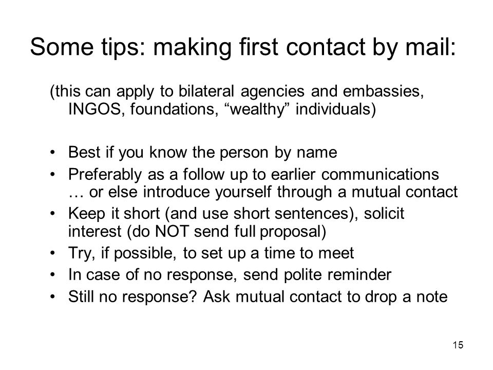 Some tips: making first contact by mail: