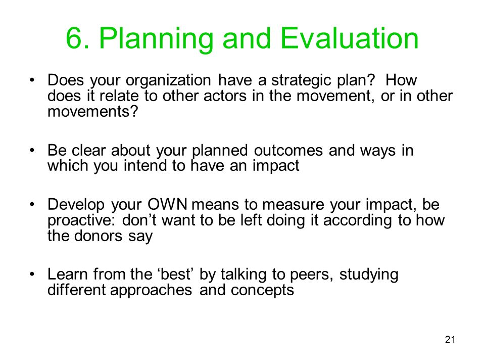 6. Planning and Evaluation