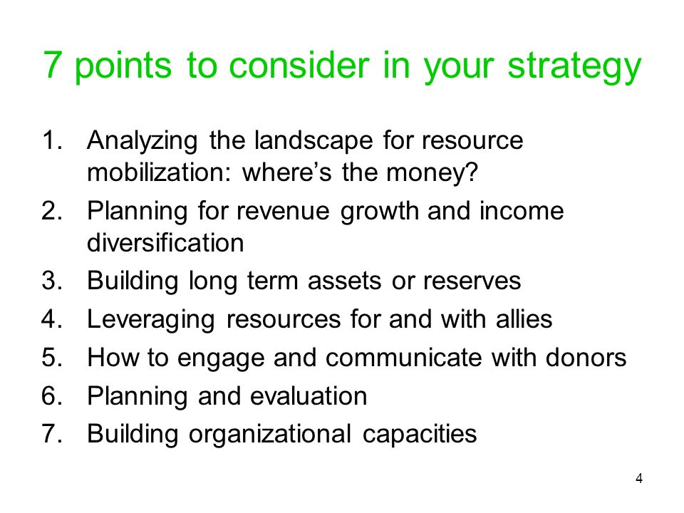 7 points to consider in your strategy