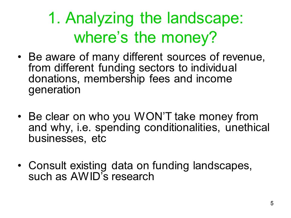 1. Analyzing the landscape: where's the money