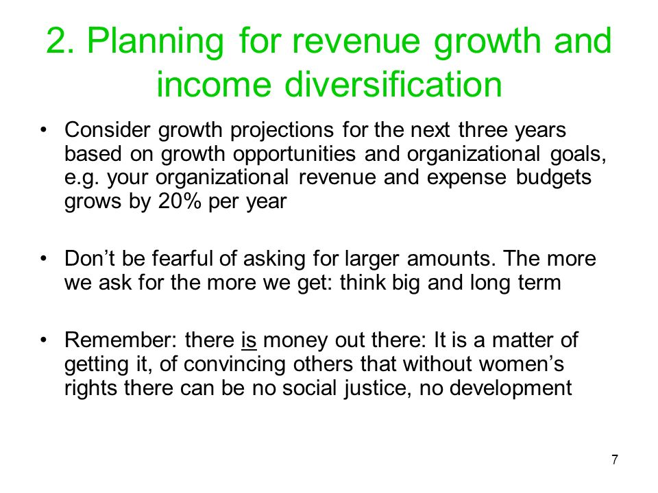 2. Planning for revenue growth and income diversification