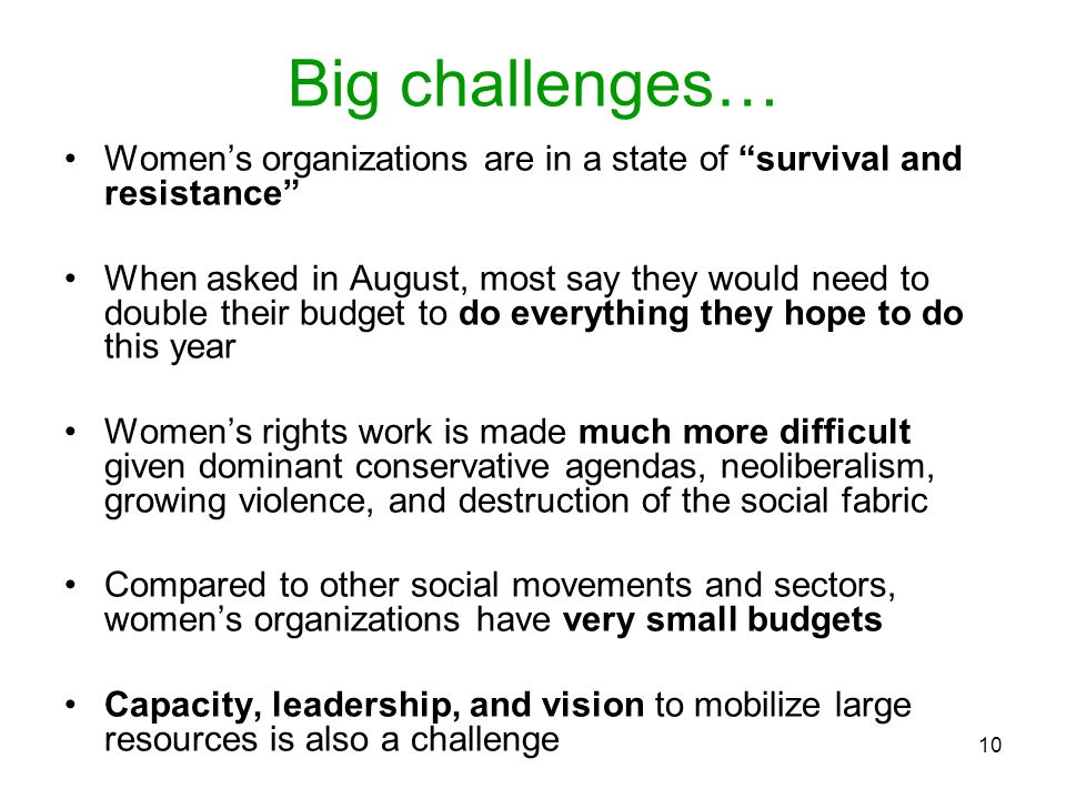 Big challenges… Women's organizations are in a state of survival and resistance