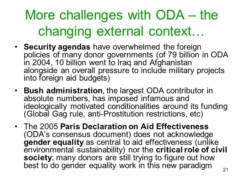 More challenges with ODA – the changing external context…