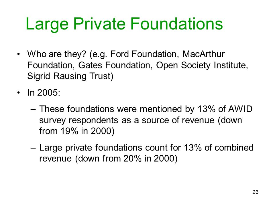 Large Private Foundations