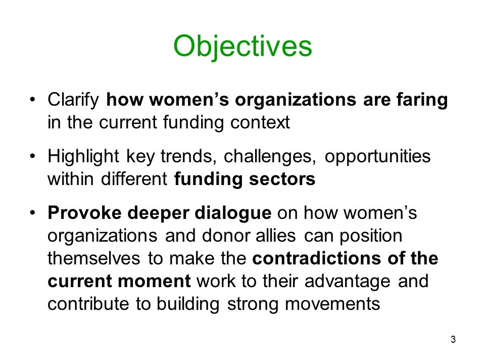 Objectives Clarify how women's organizations are faring in the current funding context.