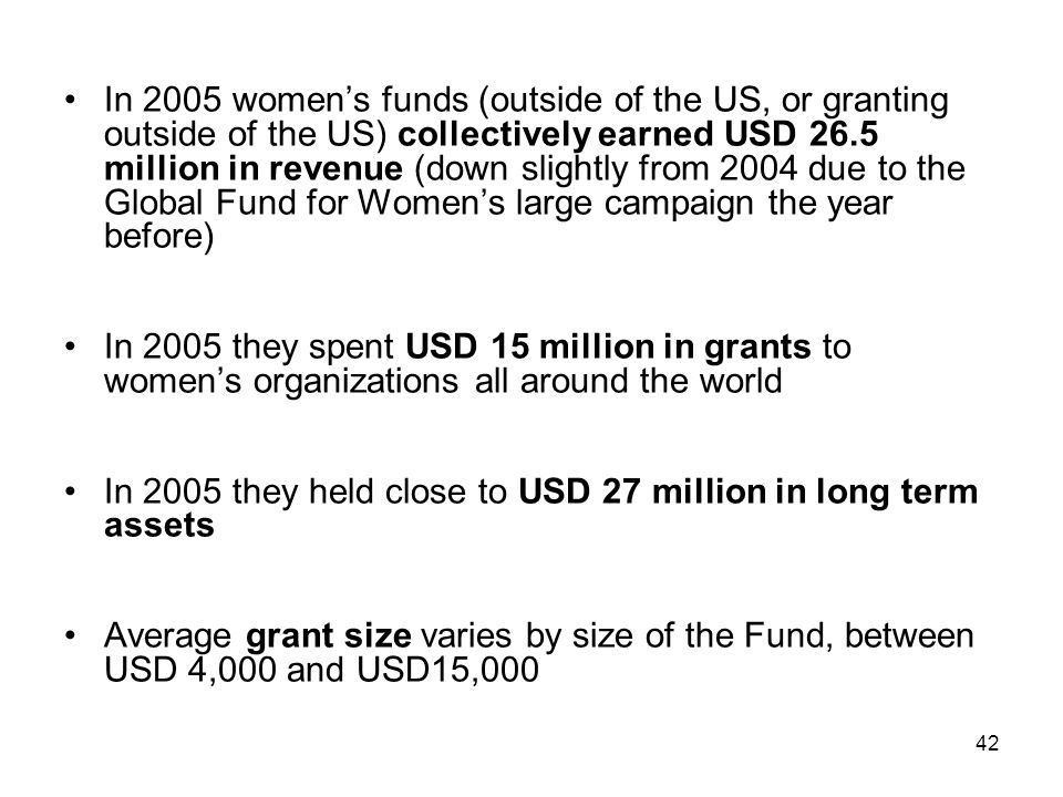 In 2005 women's funds (outside of the US, or granting outside of the US) collectively earned USD 26.5 million in revenue (down slightly from 2004 due to the Global Fund for Women's large campaign the year before)