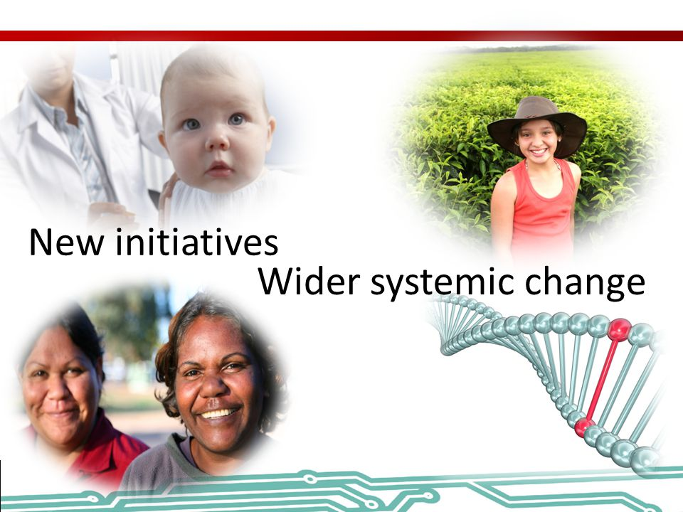 New initiatives Wider systemic change