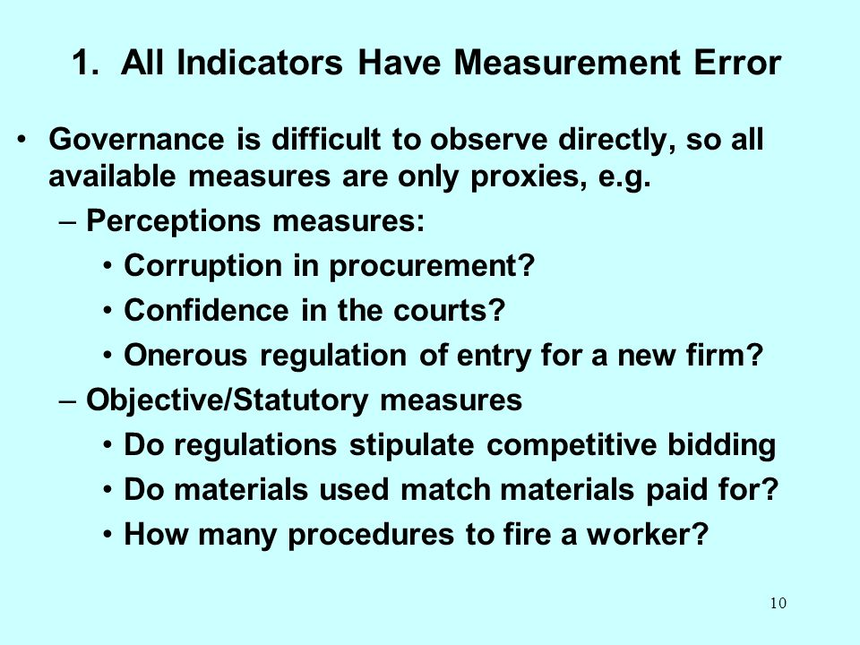 1. All Indicators Have Measurement Error