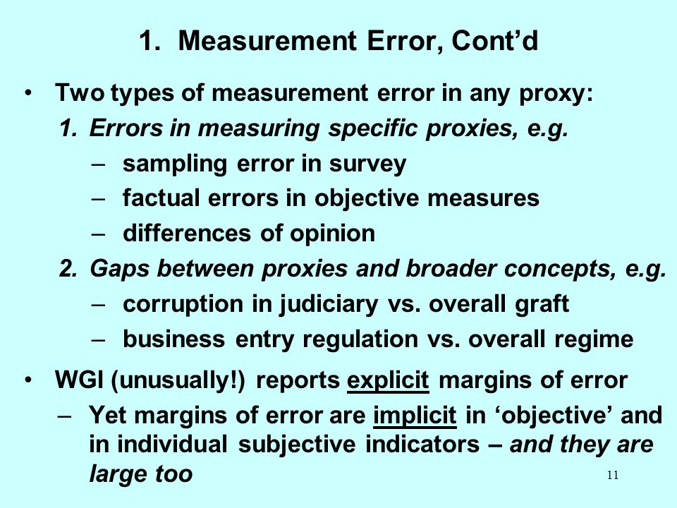 1. Measurement Error, Cont'd