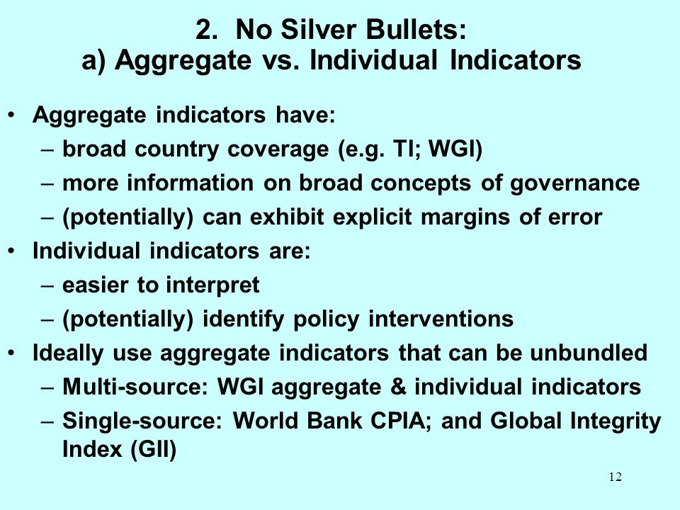 2. No Silver Bullets: a) Aggregate vs. Individual Indicators