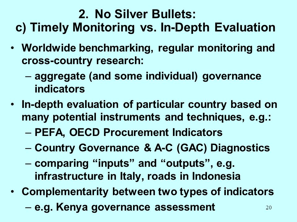 No Silver Bullets: c) Timely Monitoring vs. In-Depth Evaluation