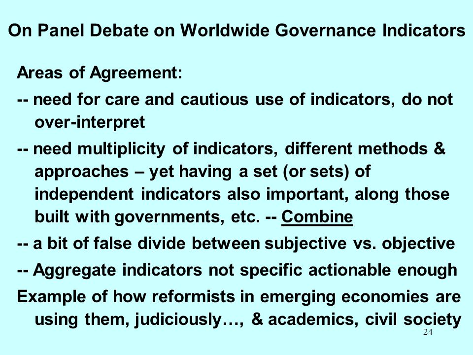 On Panel Debate on Worldwide Governance Indicators