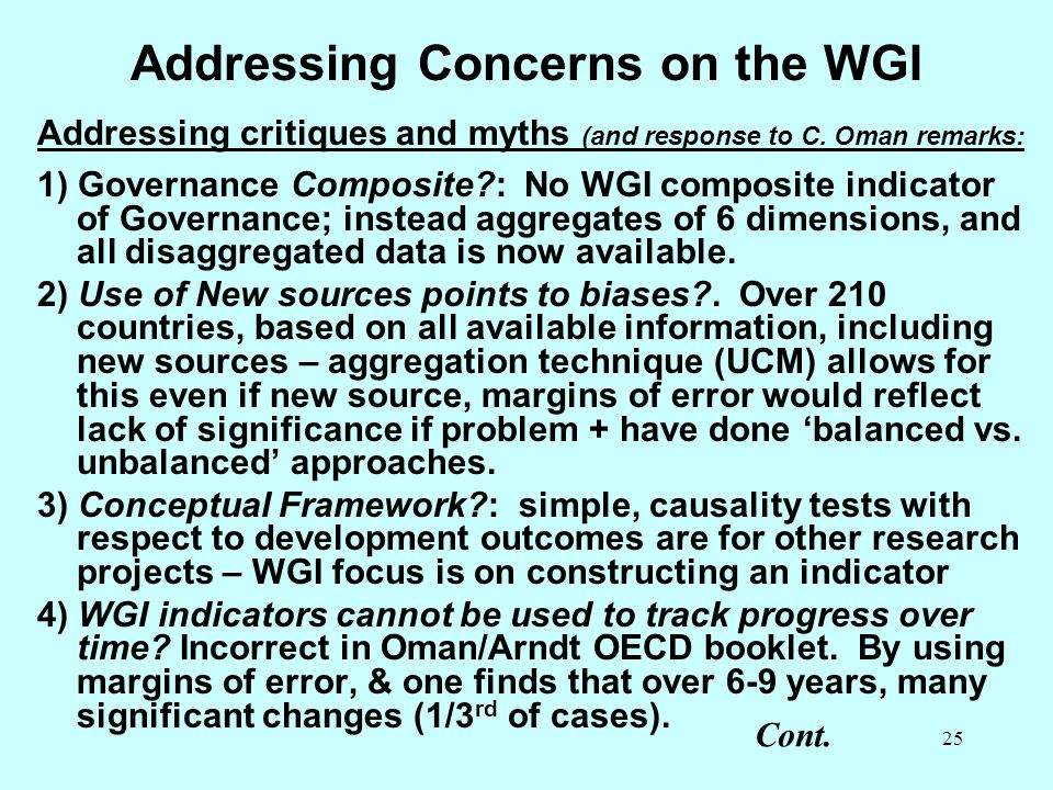 Addressing Concerns on the WGI