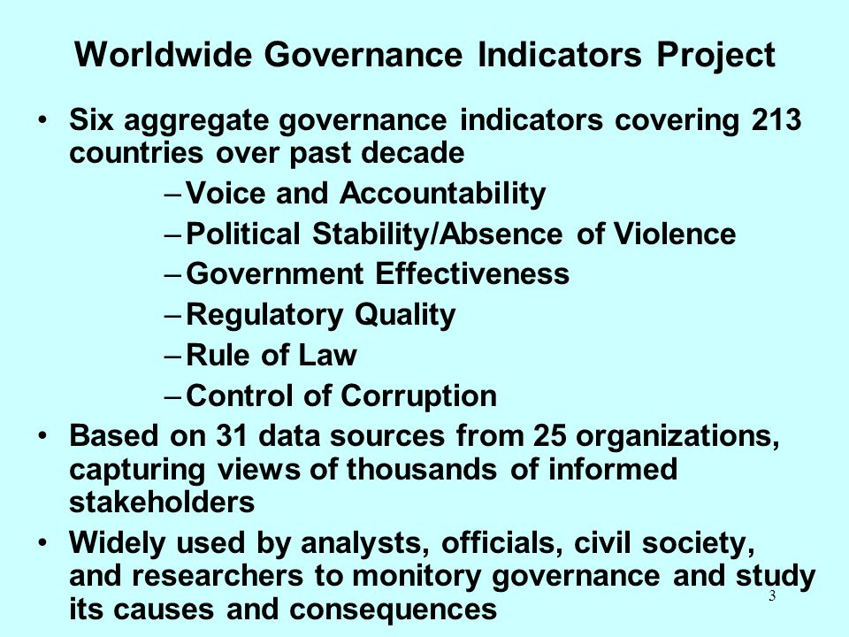 Worldwide Governance Indicators Project