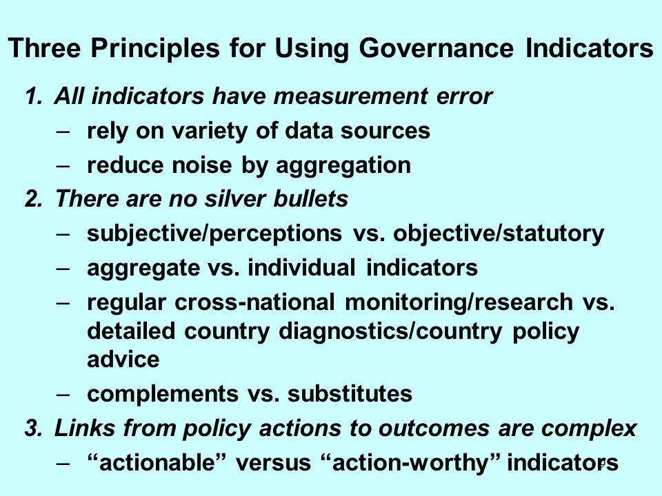 Three Principles for Using Governance Indicators