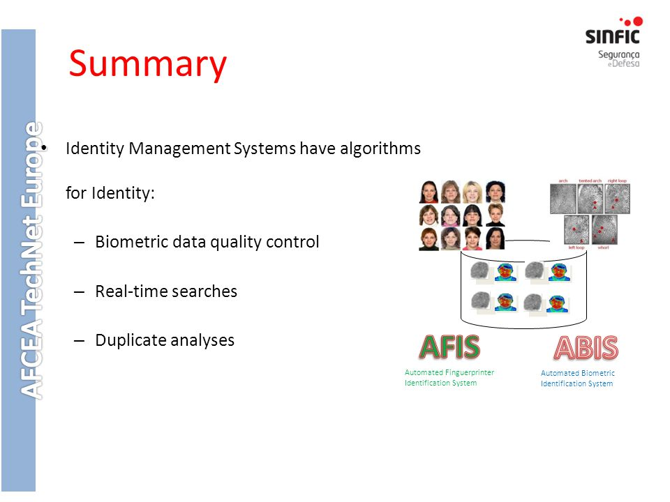 Summary Identity Management Systems have algorithms for Identity: Biometric data quality control. Real-time searches.