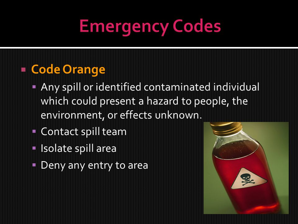 Emergency Codes Code Orange