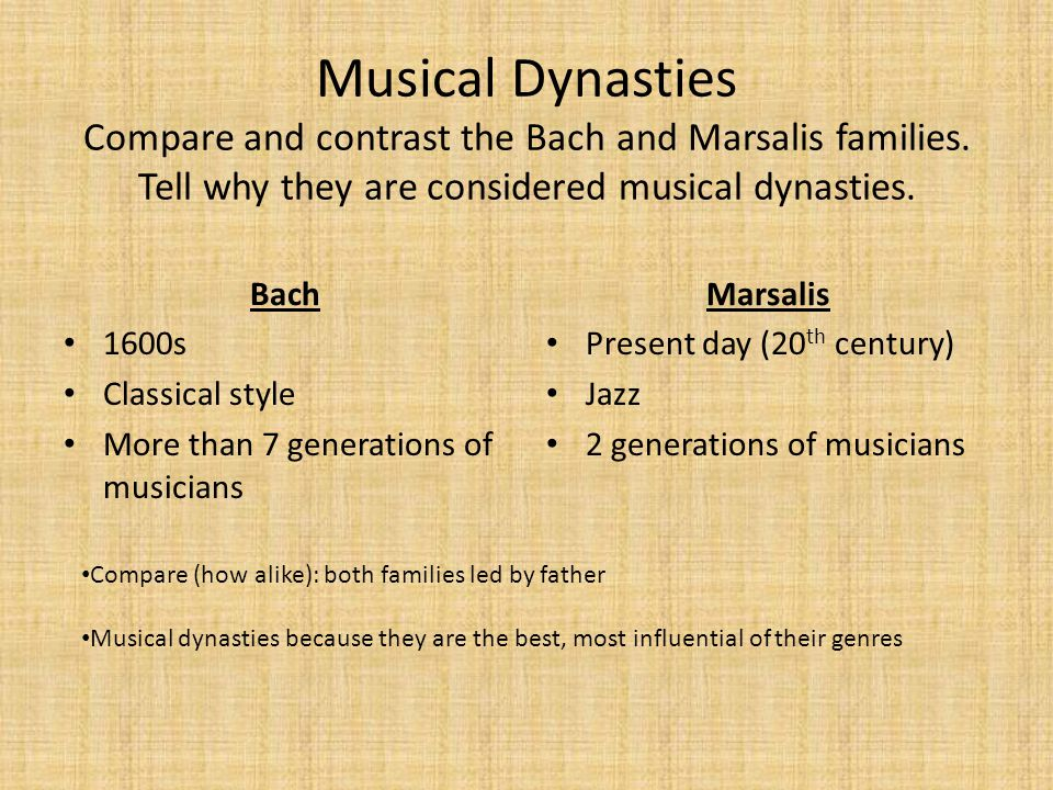 Musical Dynasties Compare and contrast the Bach and Marsalis families
