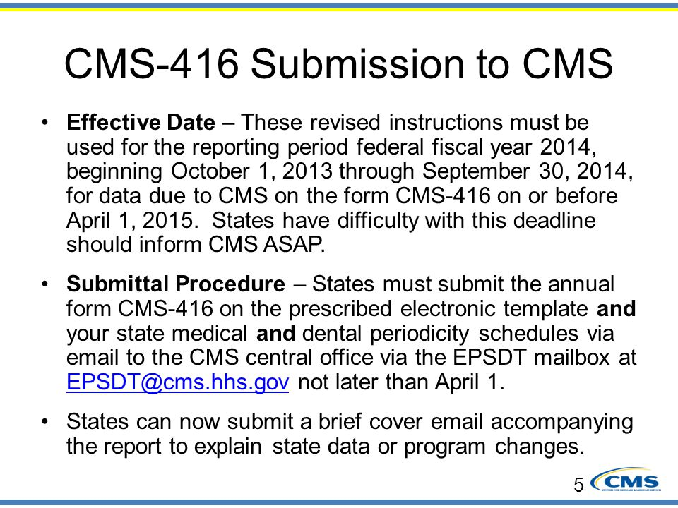 CMS-416 Submission to CMS