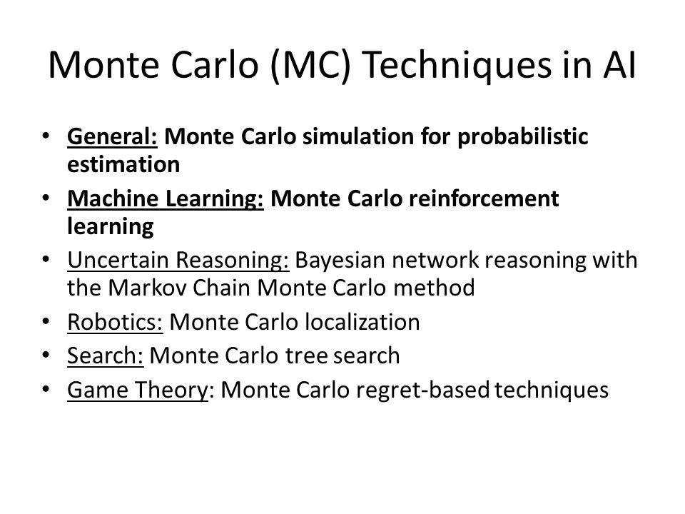 Monte Carlo (MC) Techniques in AI