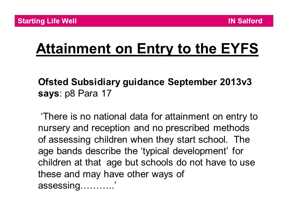 Attainment on Entry to the EYFS