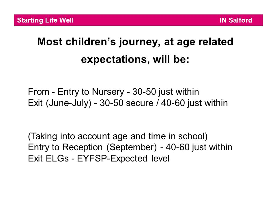 Most children's journey, at age related expectations, will be: