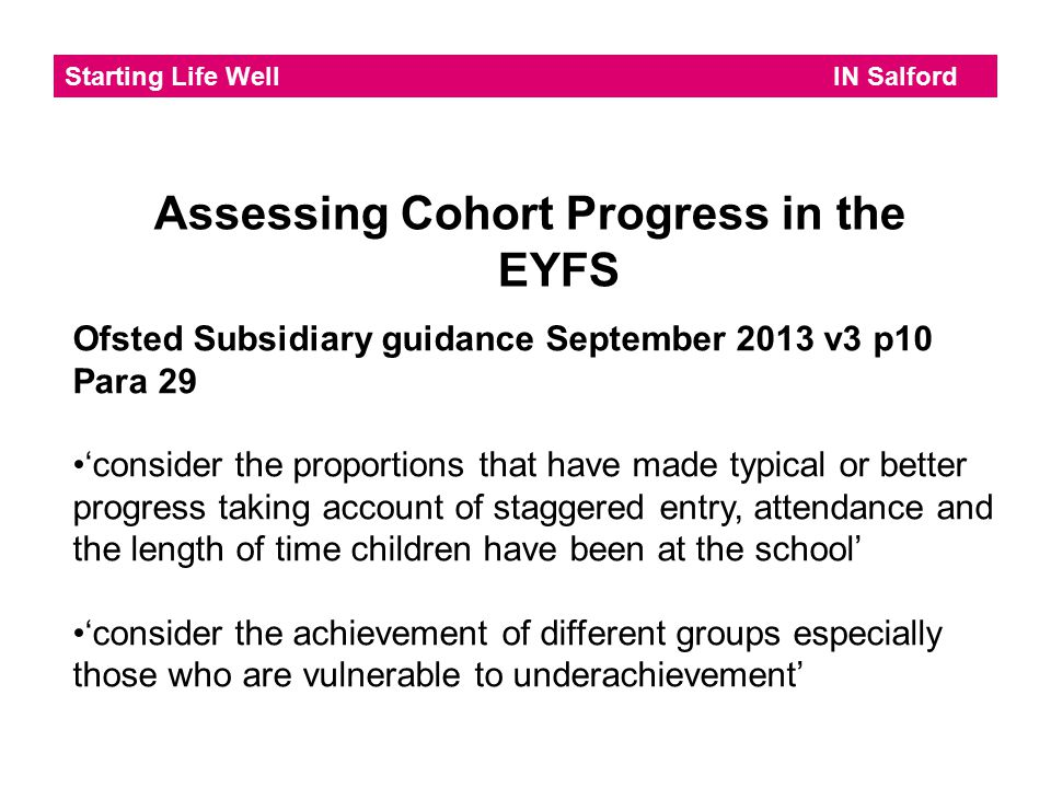 Assessing Cohort Progress in the EYFS