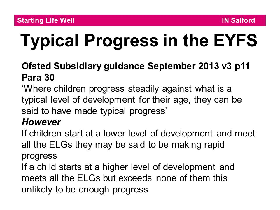Typical Progress in the EYFS