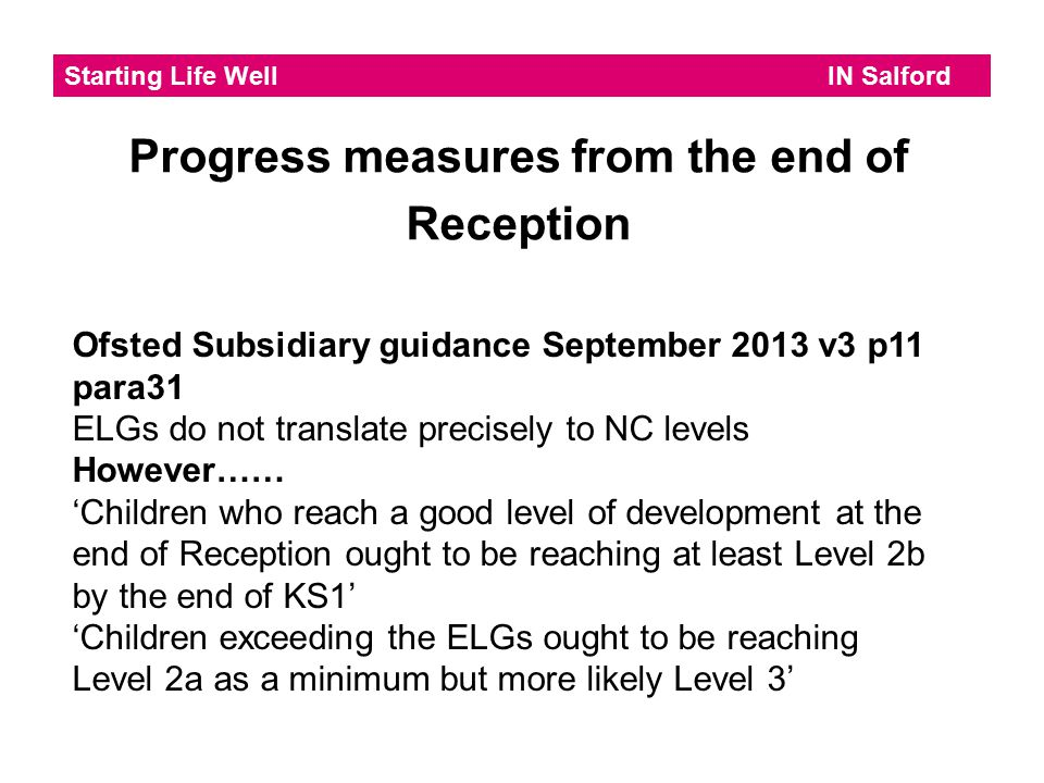 Progress measures from the end of Reception
