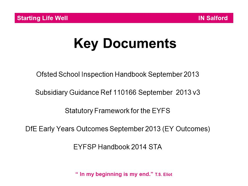 Key Documents Ofsted School Inspection Handbook September 2013