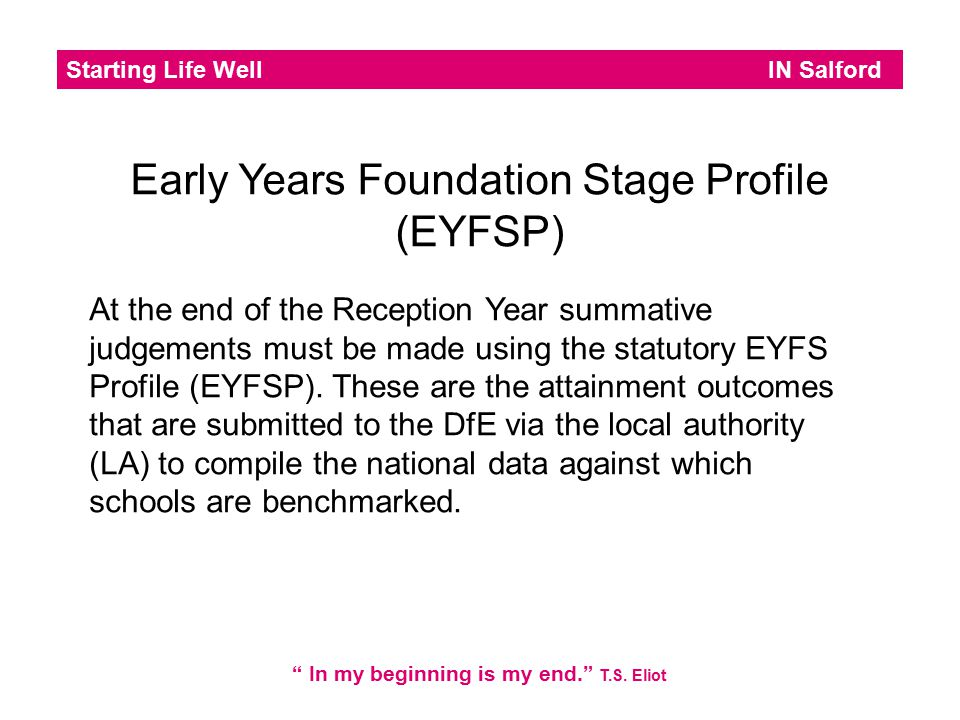Early Years Foundation Stage Profile (EYFSP)