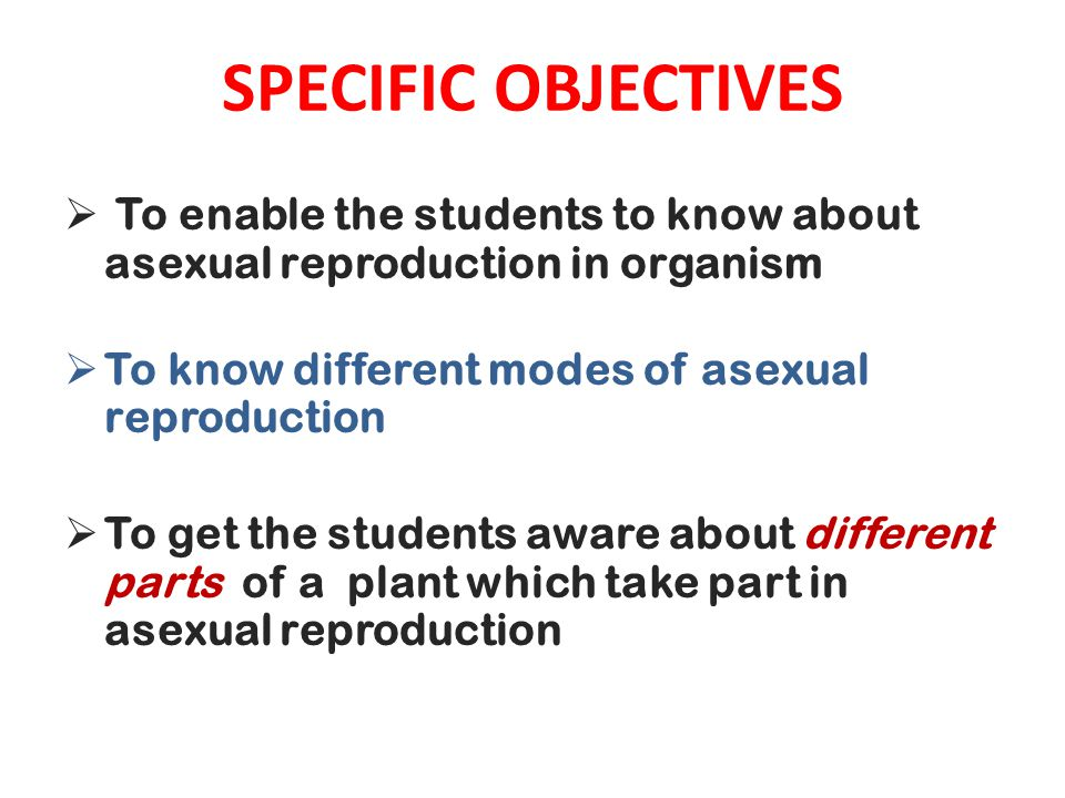 SPECIFIC OBJECTIVES To enable the students to know about asexual reproduction in organism. To know different modes of asexual reproduction.