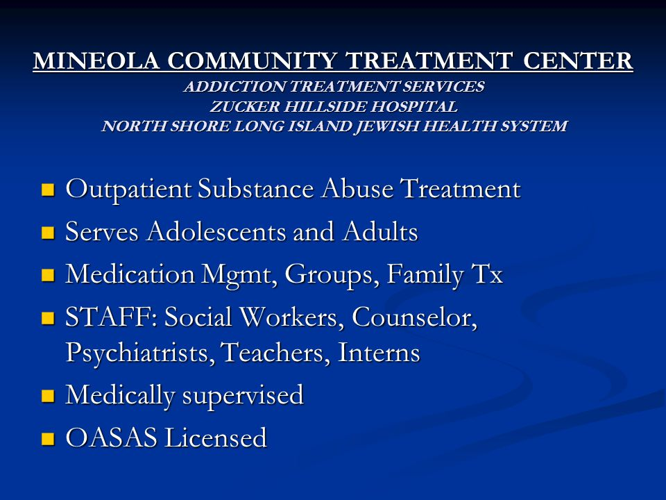 Outpatient Substance Abuse Treatment Serves Adolescents and Adults