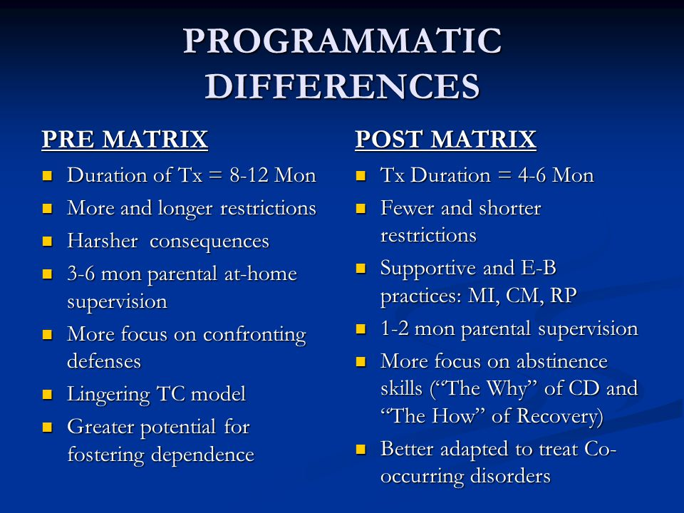 PROGRAMMATIC DIFFERENCES