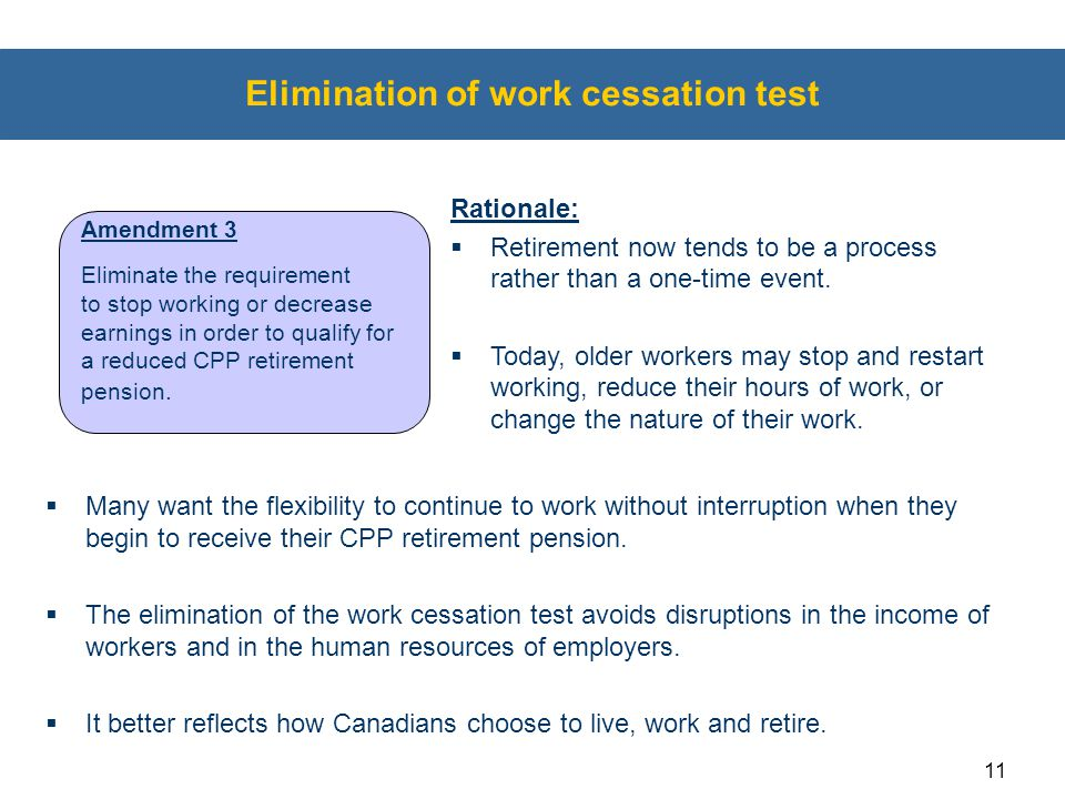 Elimination of work cessation test