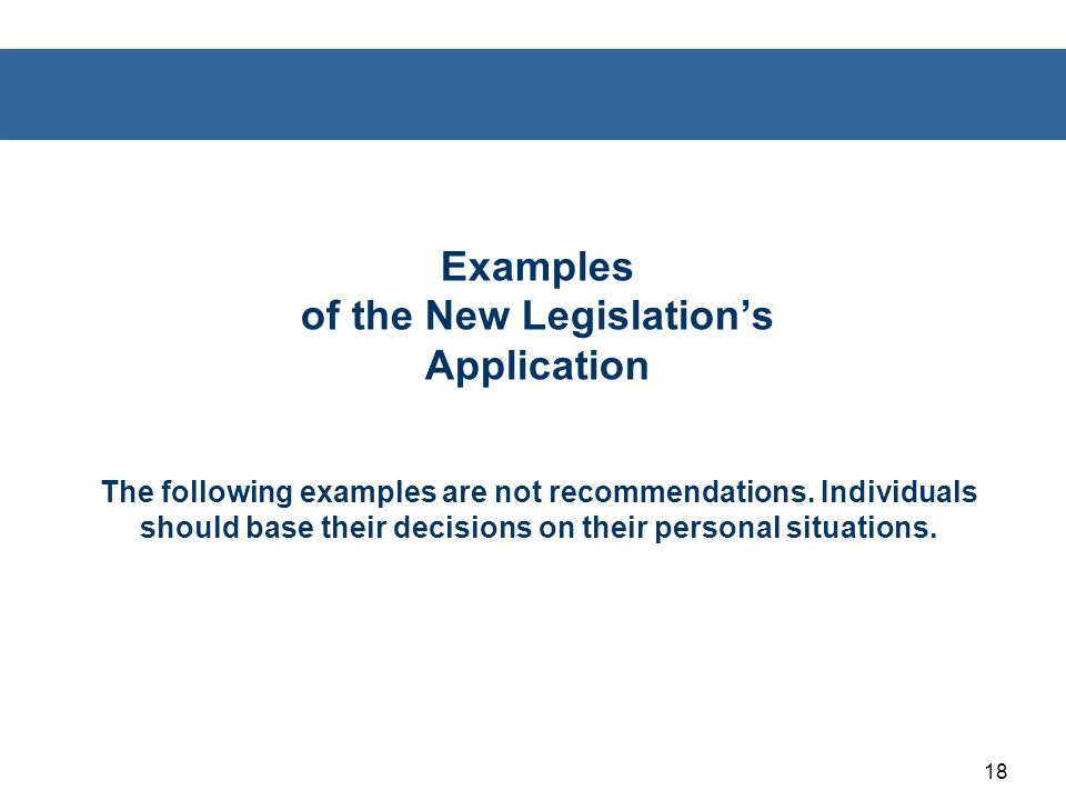 Examples of the New Legislation's Application The following examples are not recommendations.