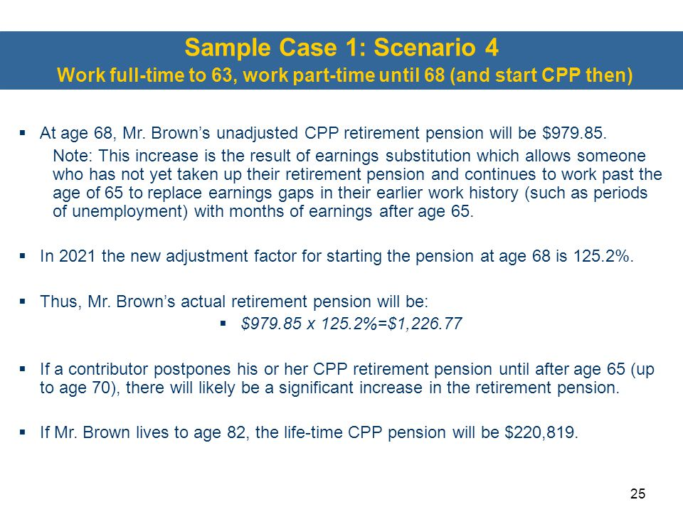Sample Case 1: Scenario 4 Work full-time to 63, work part-time until 68 (and start CPP then)