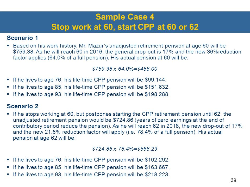 Sample Case 4 Stop work at 60, start CPP at 60 or 62