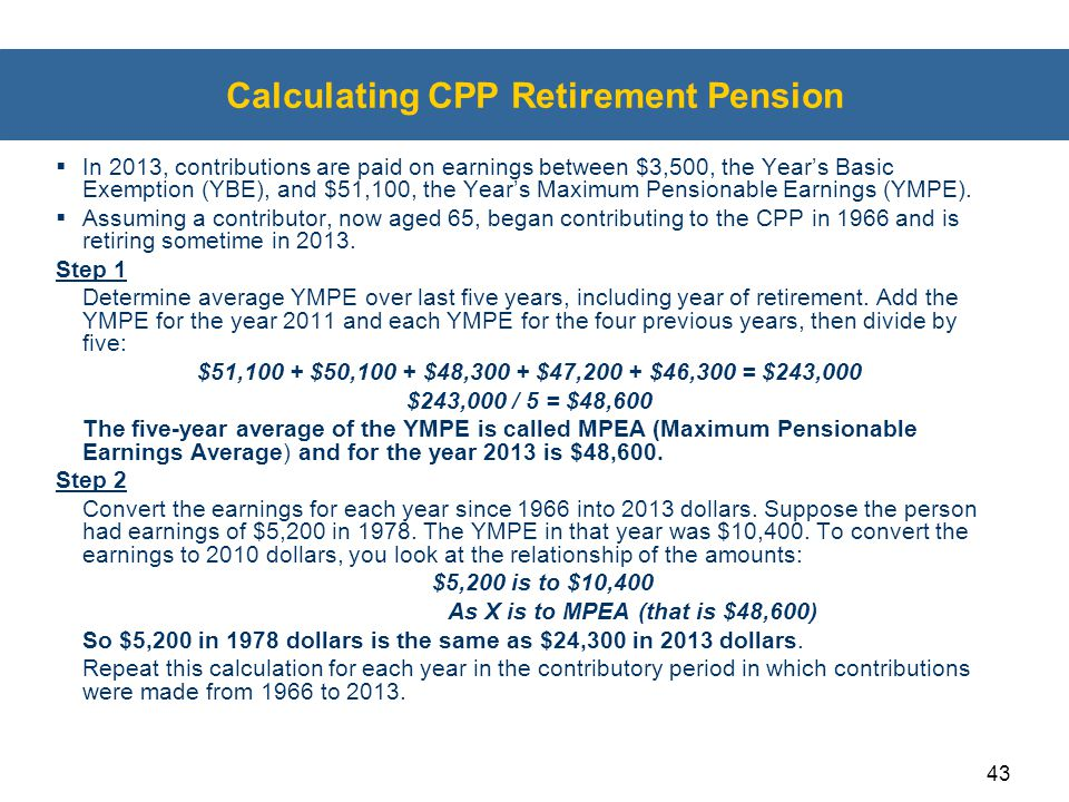 Calculating CPP Retirement Pension
