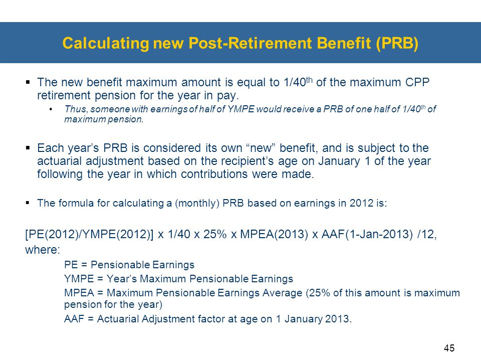 Calculating new Post-Retirement Benefit (PRB)