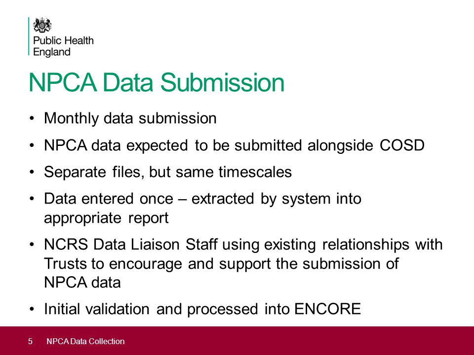 NPCA Data Submission Monthly data submission
