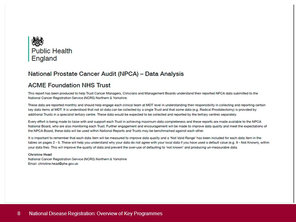 Data Quality Report National Disease Registration: Overview of Key Programmes