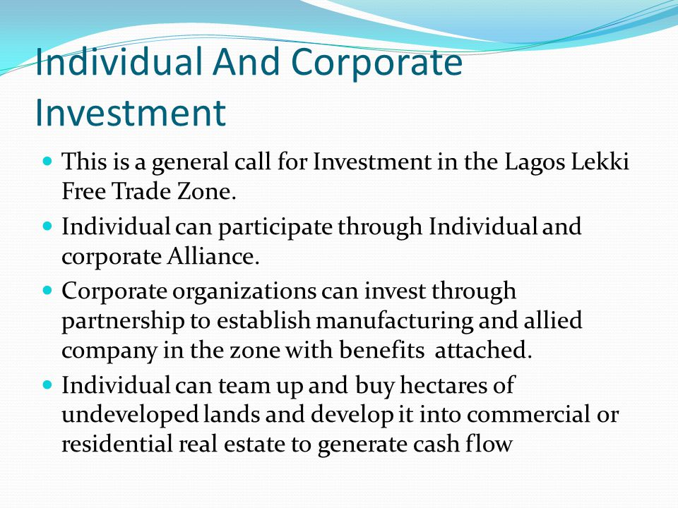 Individual And Corporate Investment
