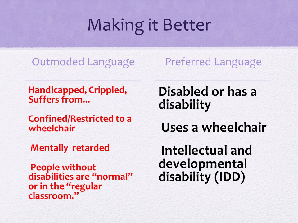 Making it Better Disabled or has a disability Uses a wheelchair