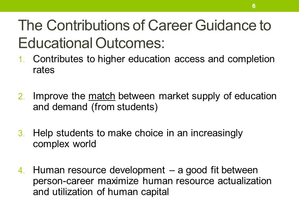 The Contributions of Career Guidance to Educational Outcomes:
