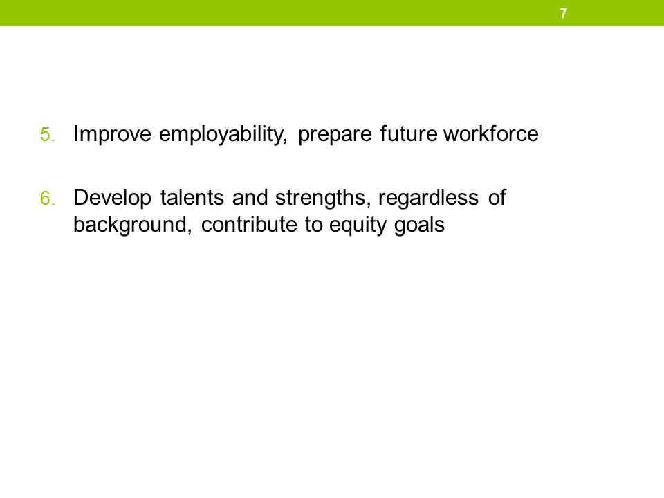 Improve employability, prepare future workforce